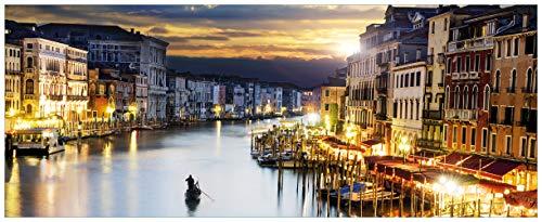 Wallario Glasbild Canal Grande in Venedig am Abend mit untergehender Sonne - 50 x 125 cm in Premium-Qualität: Brillante Farben, freischwebende Optik