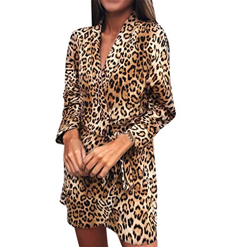 Dorical Frauen V-Ausschnitt A-Linie Langarm Kurzes Kleid Sommer Sexy Leopard Club Dress Büro OL Kleid Freizeitkleid