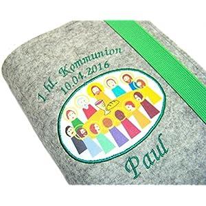 Gotteslobhülle Hülle für Gotteslob Merino Wollfilz 1.hl. Kommunion inkl. Name + Datum + Abendmahl Aufnäher