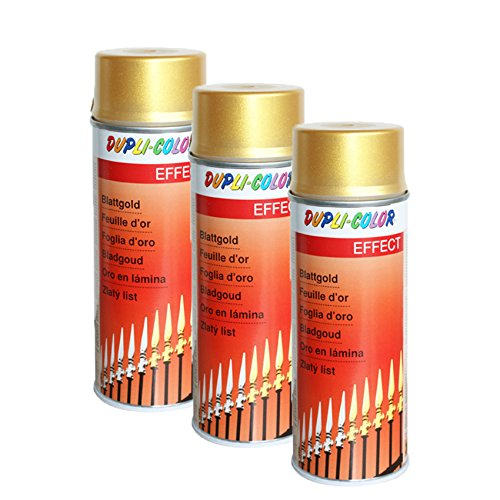 3X DUPLI-Color BLATTGOLD Spray ACRYLLACK EDELMETALLOPTIK Glas Metall Stein 400 M (Spray Blattgold)