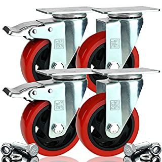 4 x Heavy Duty 2 Castor + 2 Braked Double Bearing 100mm Rubber Swivel Castor Wheel Trolley Caster 700KG Free Fitting