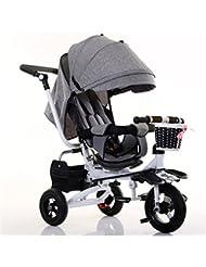 QWM-Las bicicletas infantiles para bebés Niño de interior al aire libre Pequeño triciclo bicicleta Boy's Bike Girl's Bike para 6 meses -6 años de edad bebé de tres ruedas Trolley con toldo de lino, amortiguación / plegable / se puede sentar y sentarse en el asiento / rueda inflable Regalo para niños ( Color : #3 )