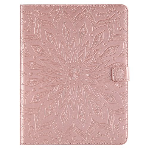 kompatibel mit iPad 2 Hülle,iPad 3 Hülle,iPad 4 Hülle,iPad 2/3/4 Smart Case Cover Leder Tasche Schutzhülle,Mandala Sonnenblume Muster PU Lederhülle Flip Wallet Case Ständer für iPad 2/3/4,Rose Gold
