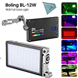 Boling BL-P1 - Luz LED para cámara (12 W, RGB, Bicolor, 2500K-8500K, 0-360°, Ajuste de Color y Color)