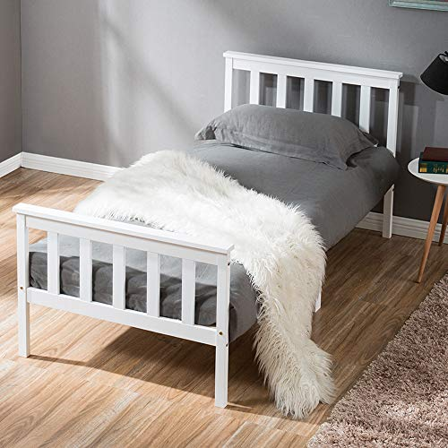 LIFE CARVER Single Bed Wooden Frame White Solid Pine for Adults, Kids, Teenagers (Single Bed)