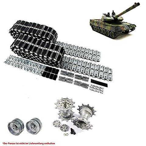 Original Metallketten und Metallräder Upgrade Kit für Henglong German Leopard 2A6 RC Panzer 3889 3889-1, Ersatz-Ketten, Tank, RC Modellbau, Kettenfahrzeug, Ersatzteil, Neu und OVP