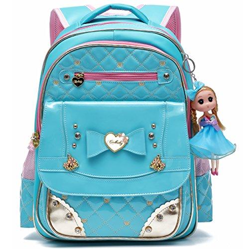Ali Victory Rucksack Serie Barbie Doll Entzückende Prinzessin Schulrucksack für Grundschule Mädchen (Blau)