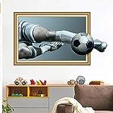 Xqi wangpu 3D Riprese Calcio Finto Finestra Rotto Adesivi Murali per Camera dei Bambini Ragazzi Camera da Letto Adesivo Adesivo Art Murale 50X70cm