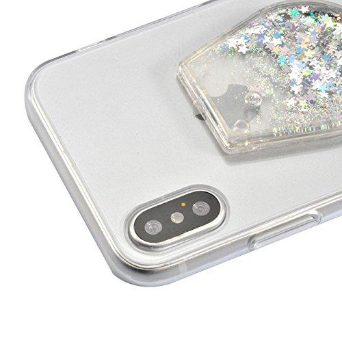 Cover the iPhone X Ultra Slim, Custodia per iPhone X, Bonice Ultra Slim Diamante Bling Glitter Lusso Cristallo Strass Morbida Rubber Bumper 360 Gradi TPU Gel Silicone Morbido Corona Case Cover e Cingh iPhone X-Cover-02