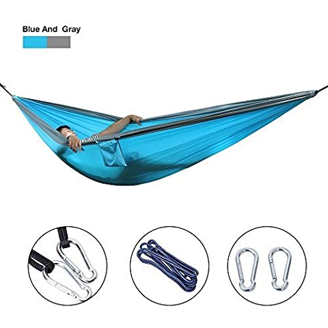 Babimax Hamac Double Portable en Parachute de Voyage Hamacs Suspendu Respirante Ultra Léger pour Jardin Camping Randonée Charge Max 250 kg de 300 X 200 cm (Bleu clair)