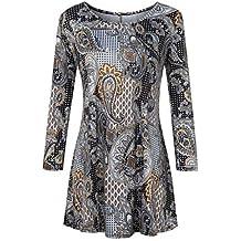 Auifor Moda para Mujer Casual Camisas con Estampado Floral 3/4 Mangas O-Cuello
