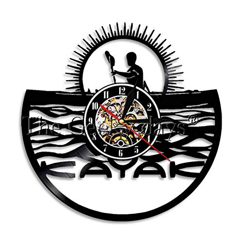 AGlitw Kayaking Time Kayak WAL Clock Paddling Vintage Vinyl Record Reloj de Pared Rafting Decoración de Pared Diseño Moderno Regalos Deportivos para kayakistas