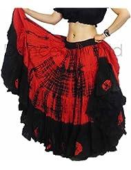Falda teñida Tie Dye, 23 m, tribal, gitana, danza del vientre, de algodón | Dancer World, rojo y negro