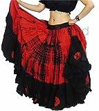 Tie Dye 22,9m Cours Tribal Gypsy Coton Belly Dancing Jupe   Danseur du Monde, Rouge/Noir...