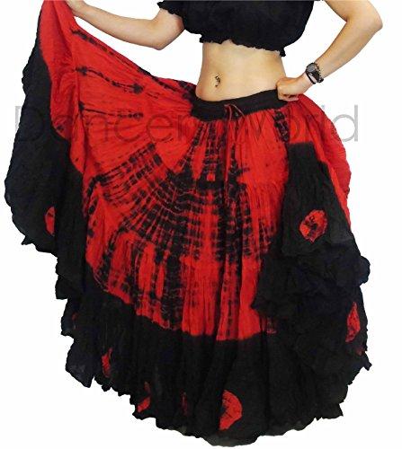 Tie Dye 25Yard Meter Tribal Gypsy Baumwolle Bauchtanz Rock | Tänzerin Welt, rot/schwarz