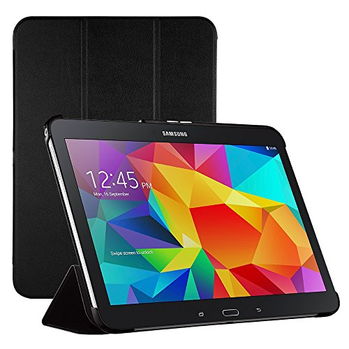 Samsung Galaxy Tab 4 10.1 Hülle, Easyacc EasyAcc Case cover Tasche mit Standfunktion Auto Wake up Sleep PU Leder hüllen für Samsung Galaxy Tab 4 10.1 T530 Wi-Fi / LTE 25,6 cm (10,1 Zoll) Smart Case (Schwarz, Kunstleder, Ultra dünn)