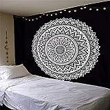 SUYUN Bedruckter Wandteppich schwarz und weiß mit
