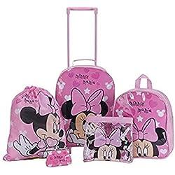 Disney - Juego de mochilas escolares de Minnie Mouse con corazones rosa para niñas - 5piezas con mochila, mochila con ruedas, bolso de mano, bolsa para natación y monedero.