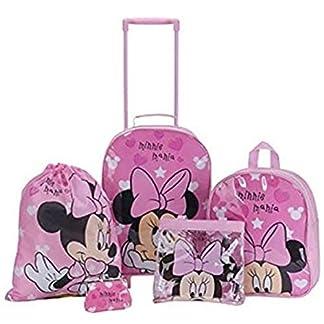 Disney Minnie Mouse corazones Niñas Rosa para niños 5piezas Conjunto de equipaje de viaje mochila escolar bolso de mano bolso bolsa de natación bolsa con ruedas