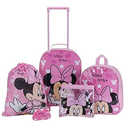 Juego de mochilas escolares Disney, de Minnie Mouse con corazones rosa para niñas, 5unidades, con mochila, mochila con ruedas, bolso de mano, bolsa para natación y monedero