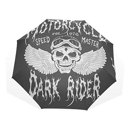EZIOLY - Paraguas de Viaje para Motocicleta, diseño de Calavera Muerta, Ligero, Anti Rayos UV, para Hombres, Mujeres y niños, Paraguas Plegable y Resistente al Viento