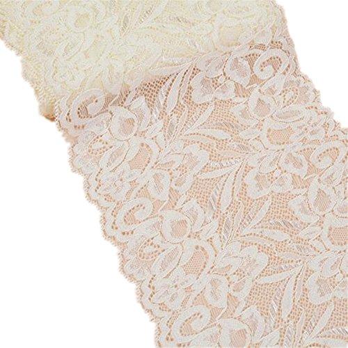4,6m nastro di pizzo floreale elasticizzato cinghie elastiche in tessuto tulle pizzo larghezza 15cm per gioielli fai da te craft vestiti accessori da regalo matrimonio decorazione beige