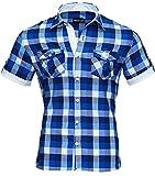 Reslad Herren Hemd Kurz-arm Männer kurzarmhemd Bügelfrei Oberhemd slim Fit karriertes Kontrast Muster RS-7065 Blau-Weiß M
