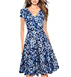 Vestidos Elegantes Floral Azul Niña Mujer Verano, Boho Chic Vestidos Tallas Grandes,Sexy Cuello en V Vestidos, hasta la Rodilla Plisado Vestido Coctel, Fiesta,Casual