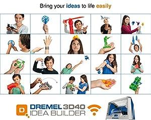 Dremel 3D Drucker 3D40 Idea Builder - Verwirklichen Sie Ihre Kreativen Ideen (Filament-Spule, USB-Kabel, USB-Stick, Netzkabel, 3x Druckmatten) Bequemes Drucken durch wartungsfreiem Druckkopf