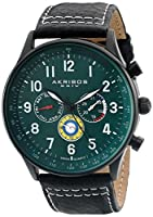 Akribos XXIV Hombres de Explorer analógica Swiss reloj de cuarzo con correa de piel