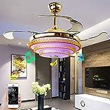 SOLUCKY Nordic Chandelier, 42 Zoll Luxus-Ceiling-Leuchte, LED Music Ceiling Fan Light, European Crystal Lamp für Restaurant Bedroom Dekoration