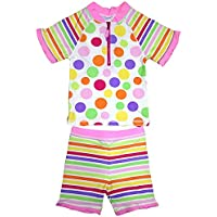 Surfit Short Sleeve - Ropa de natación con protección solar para niña, color multicolor, talla UK: XS 1-2 años