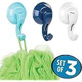mDesign crochets salle de bain et/ou cuisine – lot de trois crochets muraux en plastique – porte serviette sans perçage – bleu et blanc