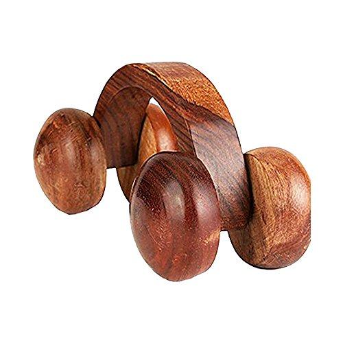 PMK Khandekar Holzrückenmassagegerät mit Auto für Körperschmerzlinderung Ball Massagegerät, Akupressur Roller Massagegerät, handgemachte Holz Massagegerät Größe 6 Zoll geformt