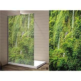 Interfoil hochwertiger Duschwanddruck Regenwald, Sichtschutz Duschabtrennung, hochwertiger Druck auf Glasdekor -Folie in Sandstrahl -Optik mit satinierten Oberfläche