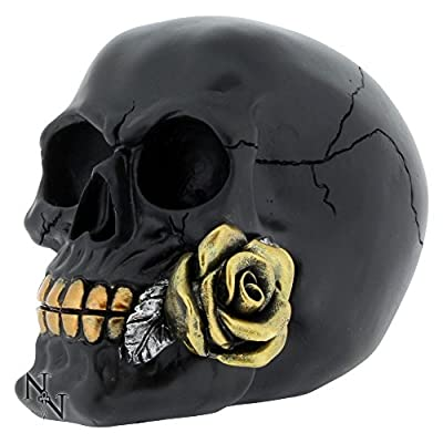 Fabulous Gothic Black Rose From The Dead Skull Figure Ornament Brand New & Boxed