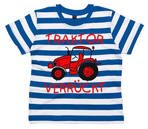 Baby & Kleinkind Blau & weiß Gestreift T-shirt 92-98 \'TRAKTOR VERRÜCKT DESIGN 2\'