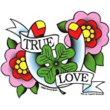 Sunny Buick - True Love Flowers Horseshoe 4-Leaf Clover autocollant Sticker - 4.75'' x 4.75'' - Weather Resistant, Long Lasting for Any Surface