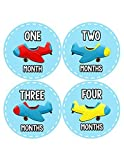 Months In Motion - Baby Month Stickers - Monthly Baby Sticker for Boys - Airplanes (1087)