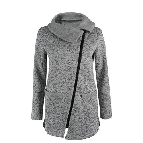 cke Herbst Winter Hooded Coat Long Zipper Pullover Outwear Mantel (M, Grau) ()