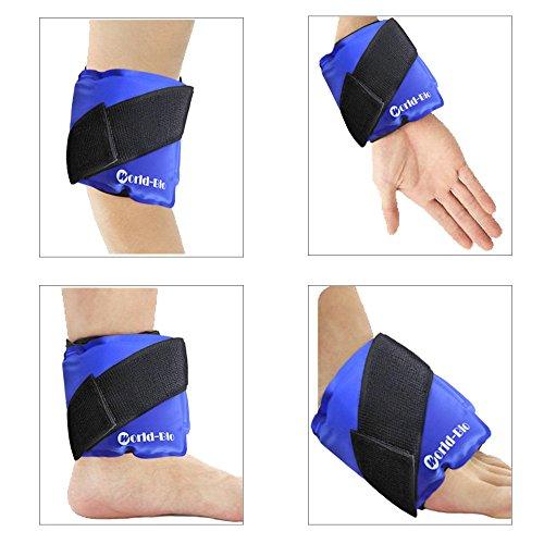 Bolsas De Gel& Wrap con Reutilizable Elástico Correa de Velcro, caliente frío terapia Compresión alivio del dolor para lesiones deportivas,esguince para tobillo, rodilla, muñeca, cuello-24*11.5cm-Azul