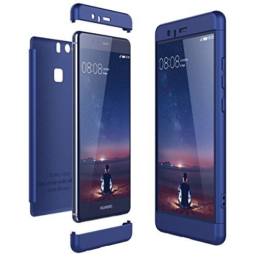 CE-Link Cover per Huawei P9 360 Gradi Full Body Protezione, Custodia Huawei P9 Silicone Rigida Snap On Struttura 3 in 1 Antishock e Antiurto, Huawei P9 Case AntiGraffio Molto Elegante - Blu