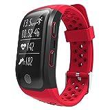 Montre Intelligente Sportative Bracelet Connecté Mesure de Sport Pédomètre Étanche Bluetooth Alarme Vibrante Compatible pour Courir et Divers Modèles de Sports Rouge
