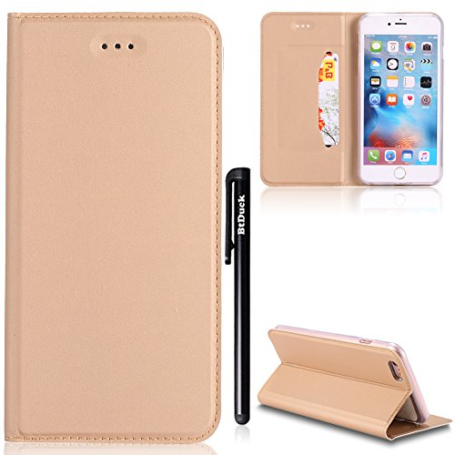 [4.7] Cover per iPhone 6,iPhone 6S Cover Rose Gold,BtDuck Ultra Slim Cover Portafoglio Stile Semplice Flip Magnetica Custodia Pelle per iPhone 6/iPhone 6S Morbido Silicone Back Cover Bookstyle Borsa Oro