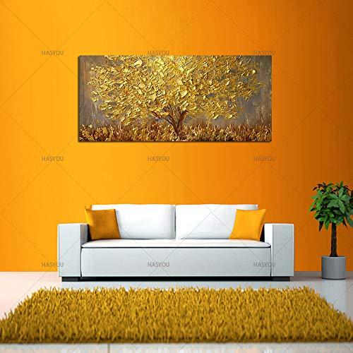 Handgemalte Messer Gold Baum Ölgemälde Auf Leinwand Große Palette 3D Gemälde Für Wohnzimmer Moderne Abstrakte Wandkunst Bilder,40x80cm -