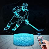 3D Eishockey Lampe LED Nachtlicht mit Fernbedienung, USlinsky 7 Farben Wählbar Dimmbare Touch Schalter Nachtlampe GeburtstagGeschenk, FroheWeihnachten Geschenke Für Mädchen, Männer, Frauen, Kinder