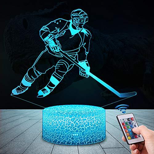 3D Eishockey Lampe LED Nachtlicht mit Fernbedienung, QiLiTd 16 Farben Wählbar Dimmbare Touch Schalter Nachtlampe Geburtstag Geschenk, Frohe Weihnachten Geschenke Für Mädchen, Männer, Frauen, Kinder