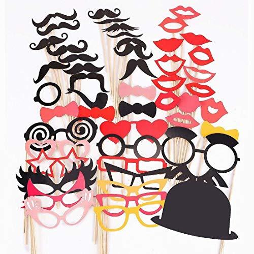 Hilai 50 Stück bevorzugen Bunte Requisiten auf Einem Stick Schnurrbart Foto Booth Partyspaß Weihnachten Geburtstag Hochzeit