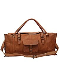 "Handcraft's ""Tom"" Handcrafted Brown Genuine Leather Vintage Hand Messenger Bag Travel Bag Cargo Duffel Bag"
