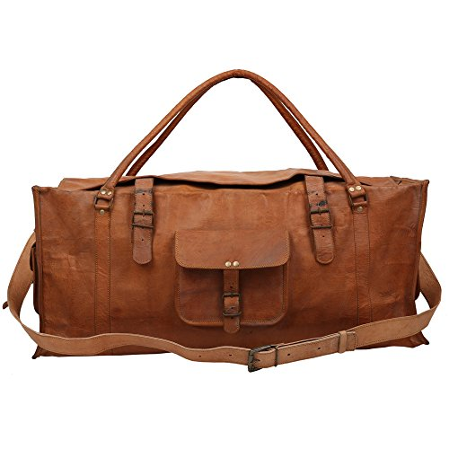 69,8 cm lang & 30,5 cm Zoll hoch handgearbeitet braun echtem genarbtem Veg Tan Leder Vintage Hand Messenger Bag Reisetasche Cargo Duffle Bag von indicraft INC (Cross Sattel Body)